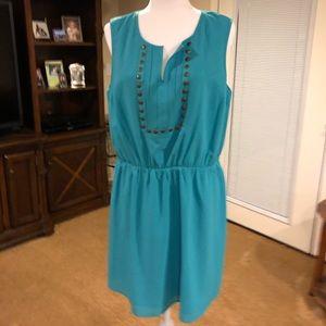 Market & Spruce Teal Dress w/ bronze tone stud top